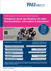 Veranstaltungsplakat mit Informationen zum Workshop-Angebot für internationale Bachelor-Studierende am 24.11.2018